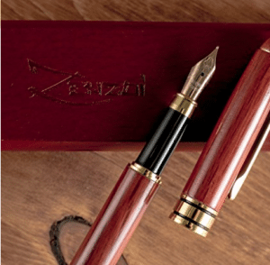 Bamboo and Burgundy Fountain Pens (Burgundy Red Wood)