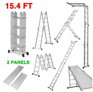 Finether 15.4ft Heavy Duty Multi Purpose Aluminum Folding Extension Ladder with Safety Locking Hinges and 2 Panels 330lb Capacity