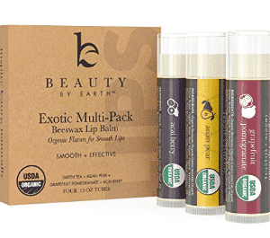 Organic Lip Balm Multi Pack; 4 Tubes of Fruit Flavored Moisturizing Natural Beeswax Chapstick with Aloe Vera