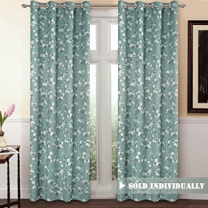 H.Versailtex Traditional Aqua Floral Country Style Pattern Thermal Insulated Blackout Curtains for Living Room