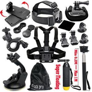 Black Pro Basic Common Outdoor Sports Kit for GoPro