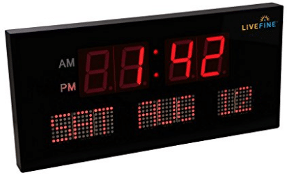 Ivation Big Oversized Digital Red LED Calendar Clock with Day and Date