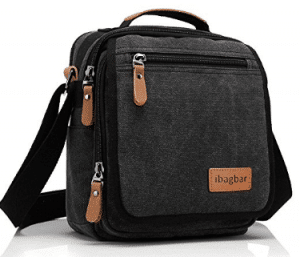 ibagbar Small Canvas Shoulder Bag Messenger Bag Work Bag
