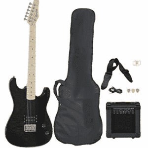 Full Size Black Electric Guitar with Amp