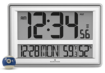 MARATHON CL030056SV Jumbo Atomic Wall Clock with Temperature and Humidity