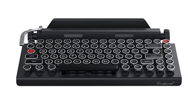 Qwerkywriter Typewriter Wireless Mechanical Keyboard with Integrated Tablet Stand