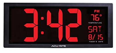 AcuRite 75127 Oversized LED Clock with Indoor Temperature