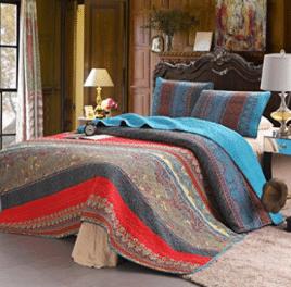 100% Cotton 3-Piece Paisley Boho Quilt Set, Reversible& Decorative - Cotton Comforters