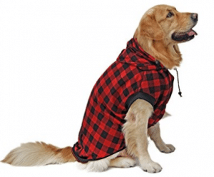 PAWZ Road Large Dog Plaid Shirt Coat Hoodie Pet Winter Clothes Warm and Soft, Dog Sweaters