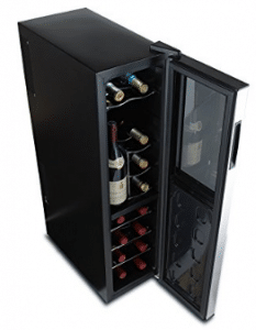 Wine Enthusiast 272 03 18 05 Silent 18 Bottle Dual Zone Wine Cooler with Upright Bottle Storage