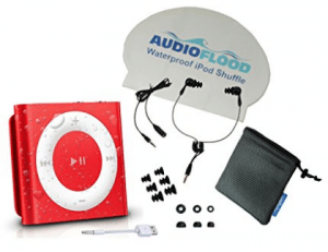AudioFlood Waterproof iPod Shuffle with True Short Cord Headphones