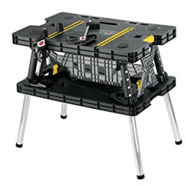 Keter Folding Compact Workbench Sawhorse Work Table with Clamps 1000 lb Capacity, Portable Workbenches