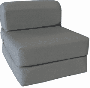 "Gray Sleeper Chair Folding Foam Bed Sized 6"" Thick X 32"" Wide X 70"" Long"
