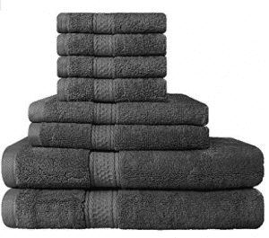 Premium 8 Piece Towel Set (Grey); 2 Bath Towels - Bath Towel Sets