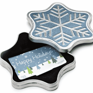 Amazon.com Gift Card for Any Amount in a Snowflake Tin (Happy Holidays Card Design)