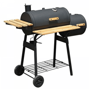 "48"" Backyard BBQ Grill Charcoal Barbecue Cooker Offset Smoker Combo With Wheels"