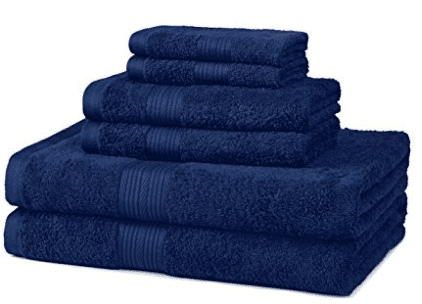 AmazonBasics Fade-Resistant Cotton 6-Piece Towel Set, Bath Towel Sets