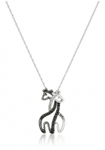 10k White Gold Black and White Diamond Giraffe Pendant Necklace
