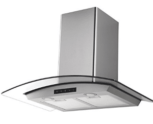 Kitchen Bath Collection HA75-LED Stainless Steel Wall-Mounted Kitchen Range Hood with Tempered Glass Canopy and Touch Screen Panel