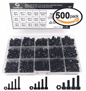 Comdox 500pcs Alloy Steel Socket Cap Screws Hex Head Bolt Nuts Assortment Kit with Box, Stainless Steel Screws