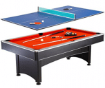 Hathaway Maverick 7-foot Pool and Table Tennis Multi Game with Red Felt and Blue Table Tennis Surface