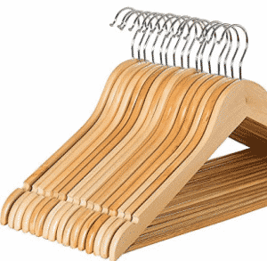 Zober Solid Wood Suit Hangers with Non Slip Bar and Precisely Cut Notches
