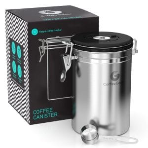 Coffee Gator Stainless Steel Container - Canister with co2 Valve, Scoop and eBook