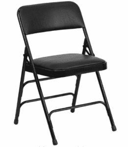 Flash Furniture HERCULES Series Curved Triple Braced & Double Hinged Black Vinyl Fabric Metal Folding Chairs