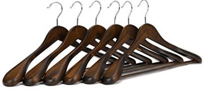 J.S. Hanger Solid Wooden Extra-Wide Shoulder Suit/Coat Hangers