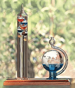 Lily's Home 11 inch Galileo Thermometer with Etched Glass Globe Barometer