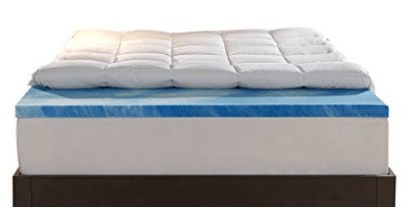 Sleep Innovations 4-Inch Dual Layer Mattress Topper. 10-year limited warranty.