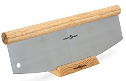 "Woodsom Sturdy 14"" Rocking Pizza Knife with Blade Guard Stand"