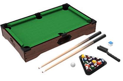 Mini Tabletop Pool Set- Billiards Game Includes Game Balls, Sticks