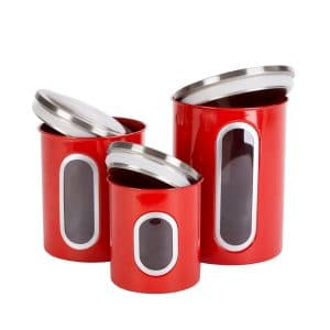 Thrich Airtight Multi-purpose Kitchen Canisters with Fingerprint Resistance Stainless Steel Lid