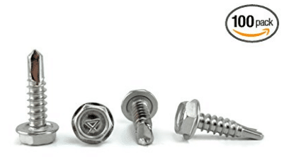 "Stainless #10 X 3/4"" Tek Screw (100 pcs)) Hex Washer Head Self Drilling Sheet Metal Tek Screws With Drill Point, Stainless Steel Screws"