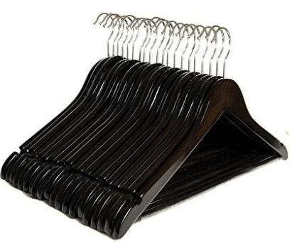 Clutter Mate Wood Clothes Hangers Dark Walnut Wooden Coat Hanger 20-Pack