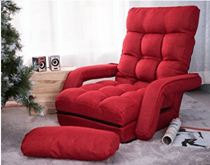Merax Folding Lazy Sofa Floor Chair Sofa Lounger Bed with Armrests and a Pillow