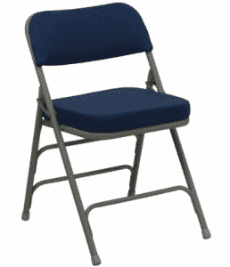 Flash Furniture HERCULES Series Premium Curved Triple Braced & Double Hinged Navy Fabric Metal Folding Chairs