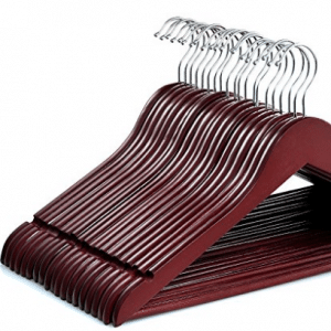 Zober Solid Cherry Wood Suit Hangers with Non Slip Bar and Precisely Cut Notches