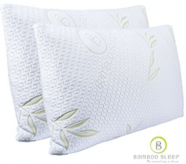 Set of 2 Bamboo Sleep Premium Bamboo Memory Foam Pillow Ultra Cool Hypoallergenic Washable Bamboo Cover USA Designed