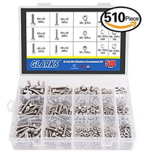 Glarks 510 Pieces Flat Hex Stainless Steel Screws Bolts nuts Lock and Flat Gasket Washers Assortment Kit, Stainless Steel Screws