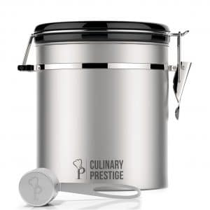 Culinary Prestige Stainless Steel Coffee Canister, Kitchen Canisters 16 Oz