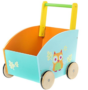Labebe Orange Owl Printed Wooden Baby Push Toy