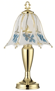 "Blue Flower Shade 18"" High Touch On-Off Accent Table Lamp"
