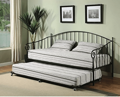 Kings Brand Matt Black Metal Twin Size Day Bed (Daybed) Frame With Metal Slats