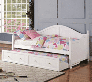 White Wooden Daybed with Trundle by Coaster Furniture