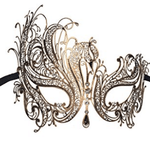 Luxury Mask Women's Swan Metal Filigree Laser Cut Venetian Masquerade Masks for Women