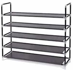 "ONGMICS 5 Tiers Shoe Rack Space Saving Shoe Tower Cabinet Storage Organizer Dark Brown 39""L"