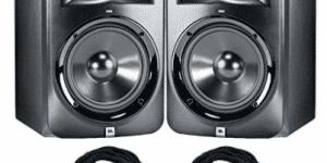JBL LSR-308 Studio Monitors with Cables Bundle