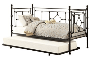 Homelegance Auberon Metal Daybed with Trundle and Quatrefoil Carving Frame with Finial Posts